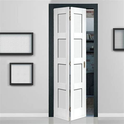 Folding Concertina Doors Interior Shaker White Primed 4 Panel Bifold Door Doors Interior Door And Interiors