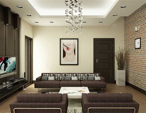 Livingroom Wall Modern Brown And White Living Room With Brick Wall Decor