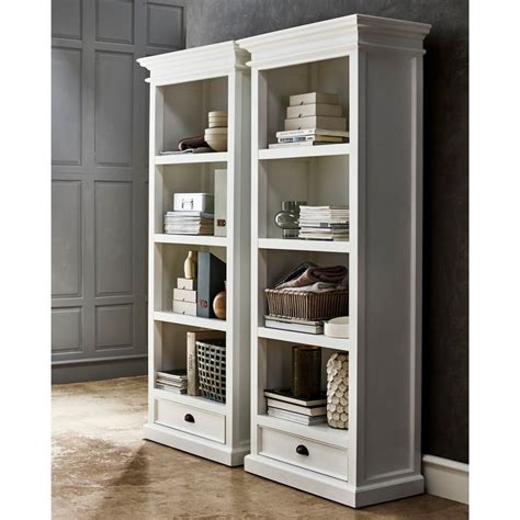 Halifax White Bookcase 1 Drawer Akd Furniture White Bookcases With Drawers