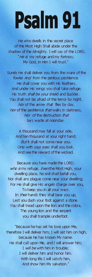 Printable Version Psalm 91   christian bookmarks