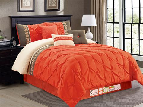 Orange Comforter King by 7 Pc Southwest Embroidery Ruched Pinched Comforter