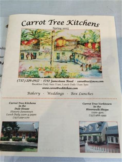 Carrot Tree Kitchens by Menu Picture Of Carrot Tree Kitchens Williamsburg