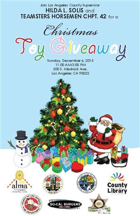 Christmas Toy Giveaways - christmas toy giveaway supervisor hilda l solis