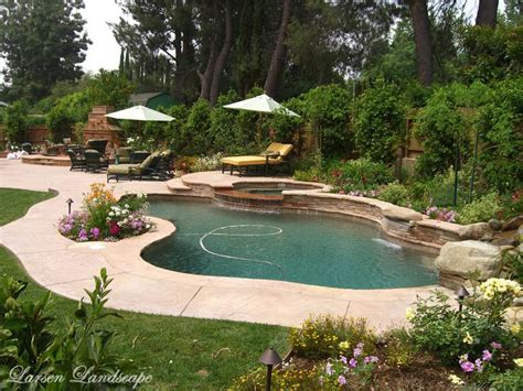 Landscaping Around Pools Landscaping Northridge Larsen Backyard Landscaping With Pool