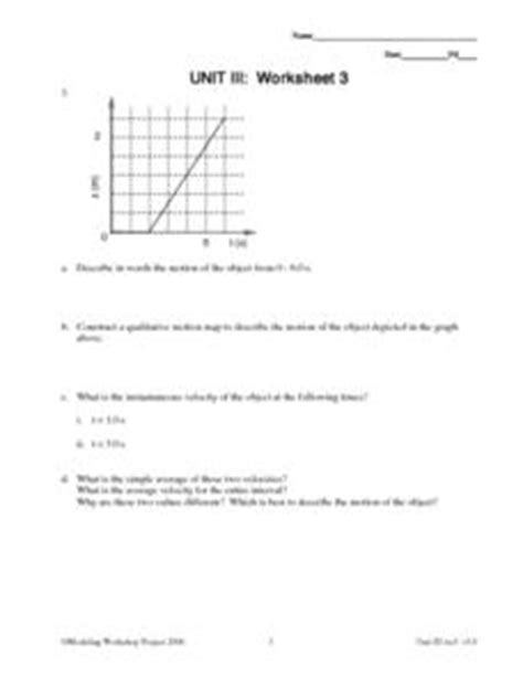 Velocity Worksheet 3 1 Answers by Unit Iii Worksheet 3 Acceleration 9th 12th
