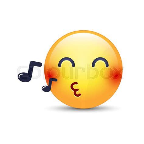 singing emoji singing smiley emoji whistles a song vector emoticon with notes happy yellow