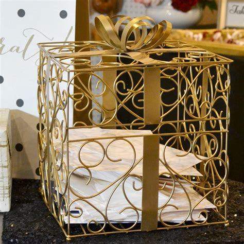 Metal Gift Card Holder - gold matte metal scroll wedding gift card box