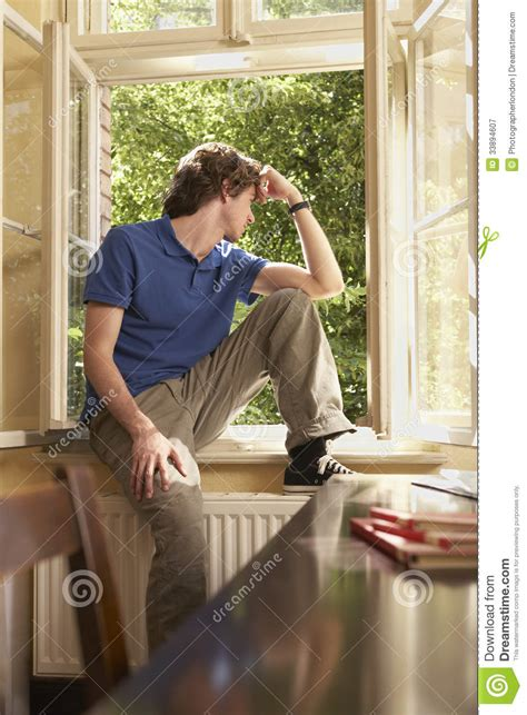 sitting window looking out of window sill in study room stock image image of caucasian sill 33894607