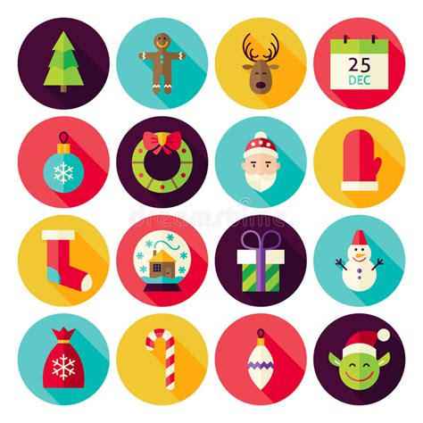 new year icon set merry new year circle icons set with shadow