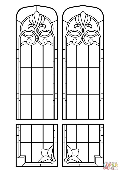 stained glass windows coloring page free printable