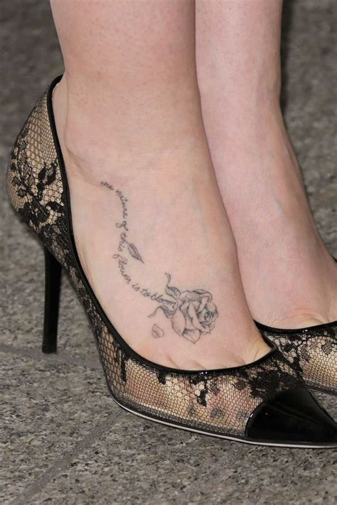 rose on foot tattoo creative wording foot for