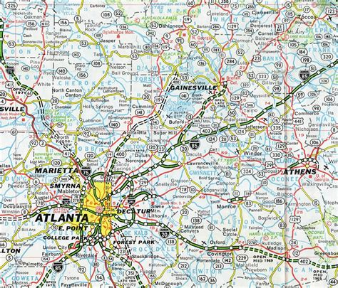 map of atlanta with exits interstate guide interstate 985
