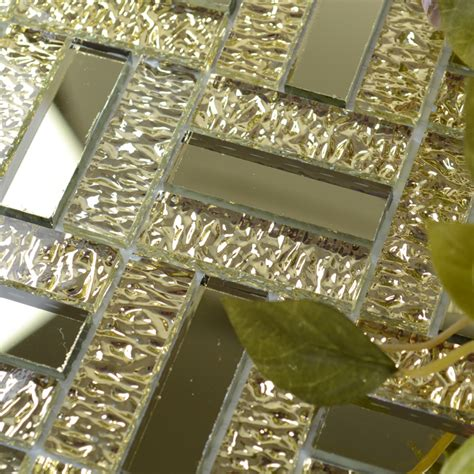 glossy glass mirror tile kitchen backsplash random wave