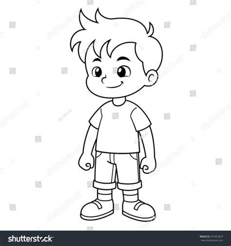 boy vector cartoon black white outline stock vector