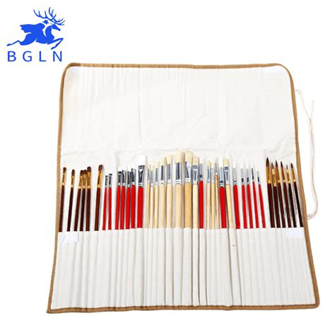 acrylic paint on canvas bag 38pcs paint brushes set with canvas bag for acrylic