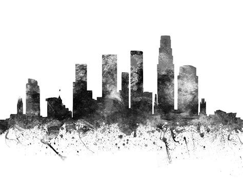 los angeles california cityscape 02bw drawing by aged pixel