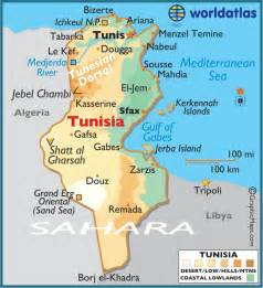 where is tunisia in the world map tunisia large color map