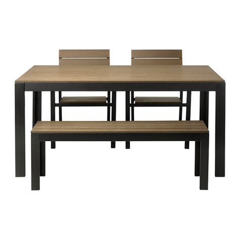 Falster Table 2 Chairs And Bench Outdoor Black Brown Ikea