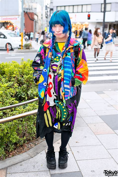 japanese pattern fashion blue braids colorful prints tokyo bopper in harajuku