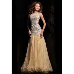 dropped jewel beading organza sequin long champagne prom dress