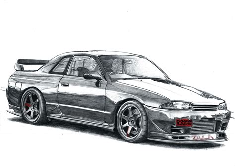 nissan drawing nissan skyline r32 drawing hq print by cardesigner123 on
