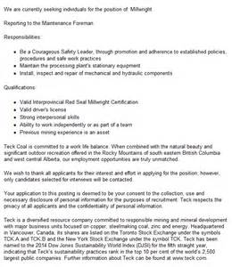 millwright cover letter hiring millwright in canada global careermine