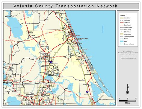 Florida Search Volusia County Volusia County Road Network Color 2009