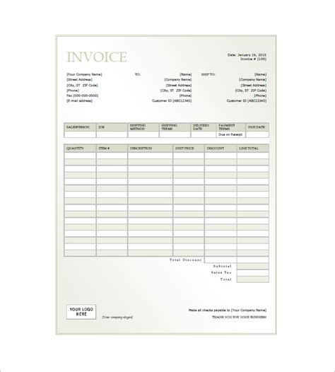general invoice template hardhost info