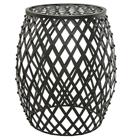 Black Metal Garden Stool bohemian chic openwork lattice design black metal garden