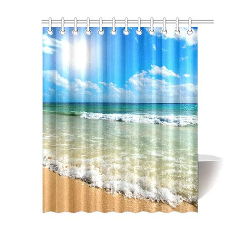 Beachy Shower Curtains Tropical Waves Shower Curtain