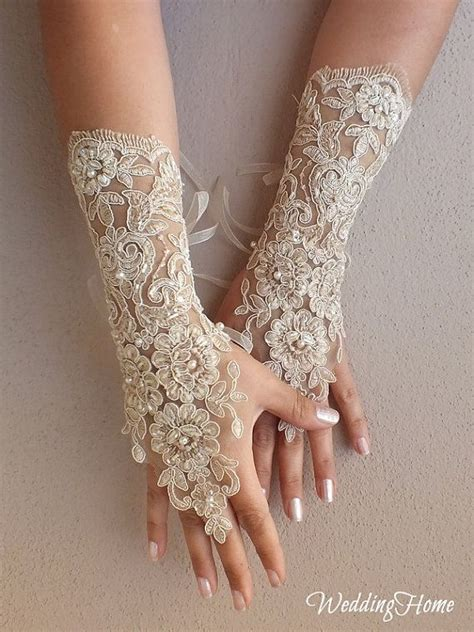 Lace Wedding Gloves chagne wedding gloves free ship bridal lace fingerless