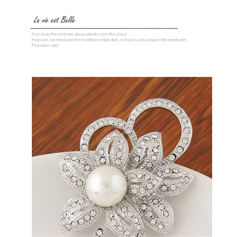 Cincin Korea Pearl Flower Design personality white pearl decorated flower shape