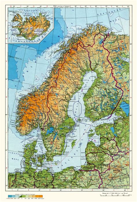 physical map of sweden large physical map of scandinavia in russian sweden