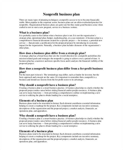non profit business plan template non profit business plan 10 free pdf word documents