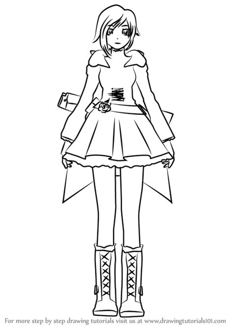 ruby rose coloring page rwby ruby rose drawing sketch coloring page