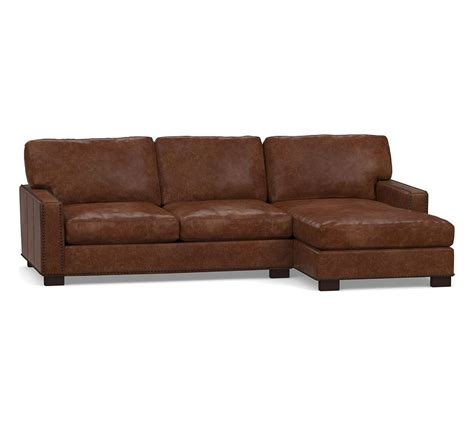 turner square arm leather  arm sofa  chaise