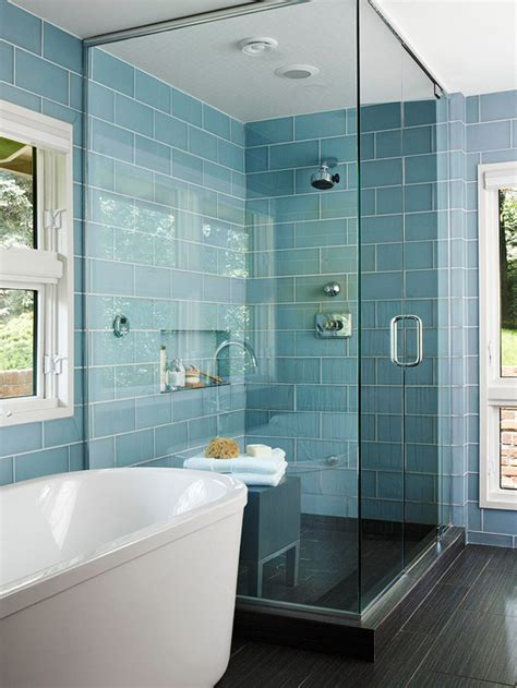blue bathroom tiles design turquoise blue glass shower tiles design decor photos