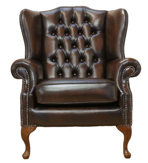 Chesterfield Wing Armchair by Chesterfield Mallory Flat Wing High Back Armchair Brown Leather Ebay