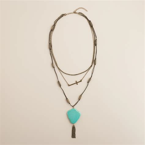gold turquoise and cross multi layer necklace world market