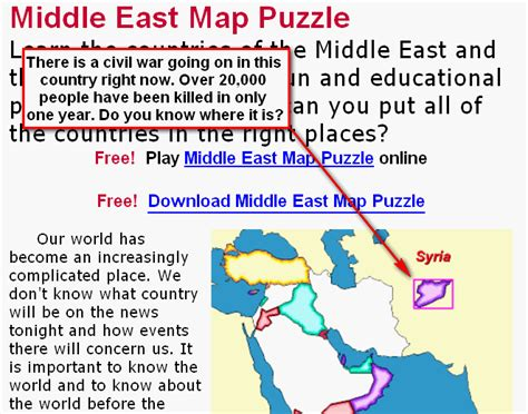 middle east map puzzle language learning where is that country geography