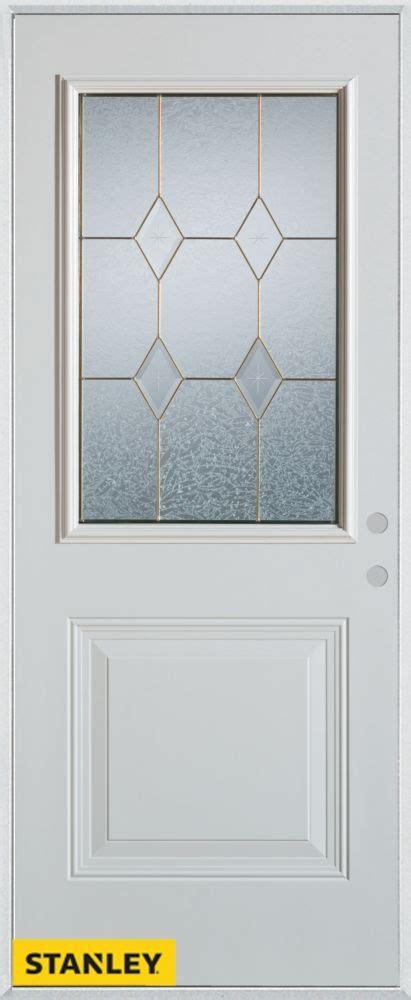 34 Inch Exterior Door Stanley Doors 34 Inch X 80 Inch Geometric Zinc 1 2 Lite 1 Panel 2 Panel White Steel Entry Door
