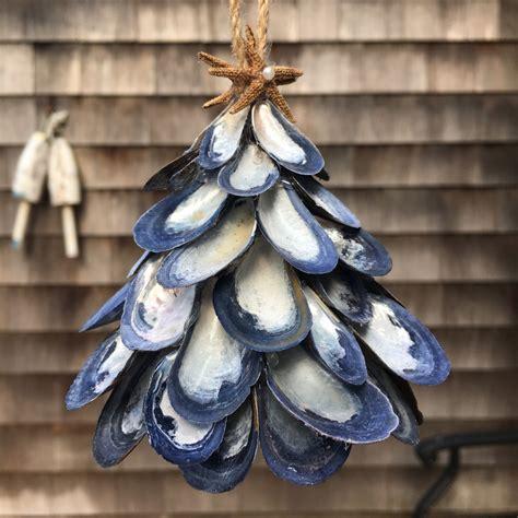 nautical tree ornaments mussel shell tree ornament nautical by coastalcornucopia