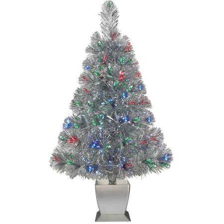 fibre optic christmas tree silver time 32 quot concord silver fiber optic artificial tree walmart