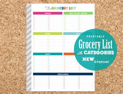 printable grocery list editable categorised by clean life and home menu kitchen printables