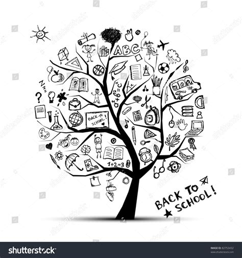 doodle how to make knowledge tree knowledge concept school your design stock vector