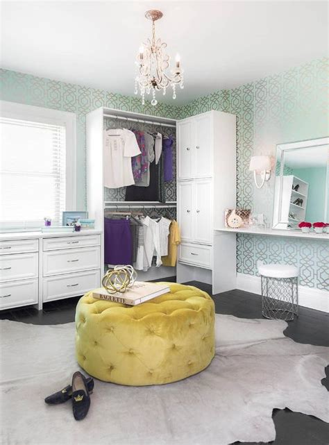 dressing room ottoman contemporary dressing room with canary yellow tufted