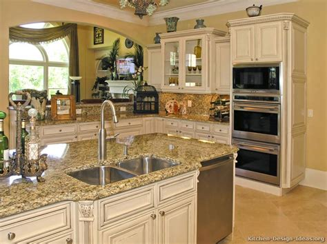 Pictures Of Kitchens Traditional Off White Antique Antique White Kitchen Cabinets
