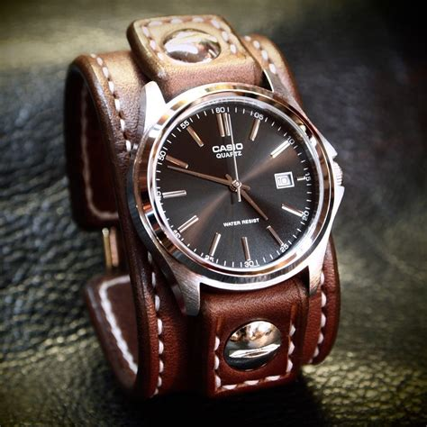 Handmade Leather Watches - leather cuff brown stitched watchband casio