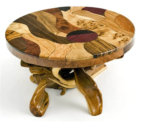 artistic coffee table woods in mosaic design rustic