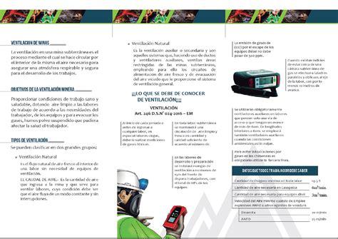 decreto supremo 024 2016 energia y minas ventilaci 211 n de minas triptico undac fim